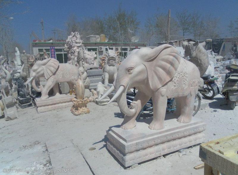 脸谱石雕石刻图片素材大象绘制图片