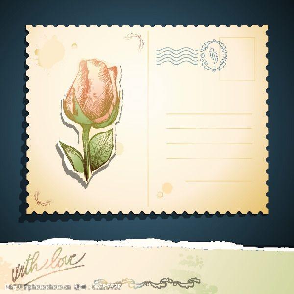 复古邮戳矢量古典装饰玫瑰卡片