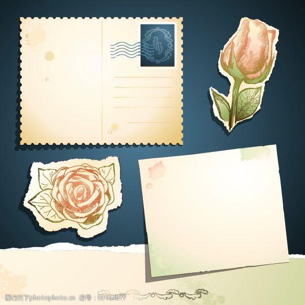 复古邮戳矢量玫瑰图案明信片设计