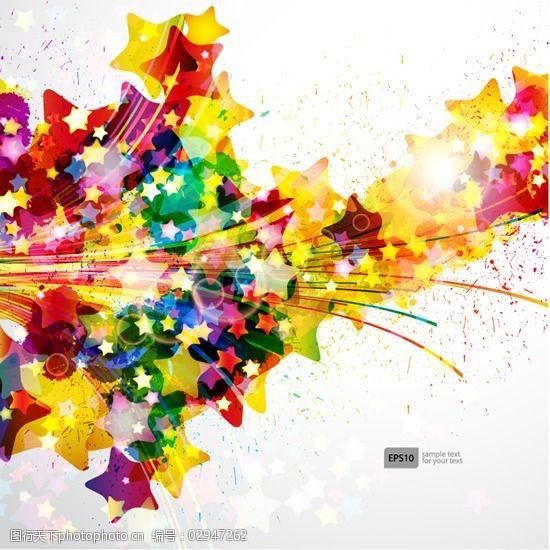 动感彩线矢量炫彩光晕花卉背景素材