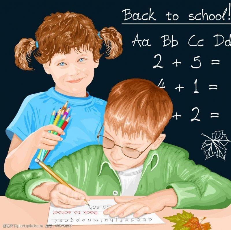 小学生写字小学生开学返校背景图片