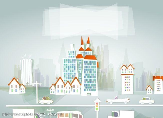 城市建筑道路交通剪纸矢量素材