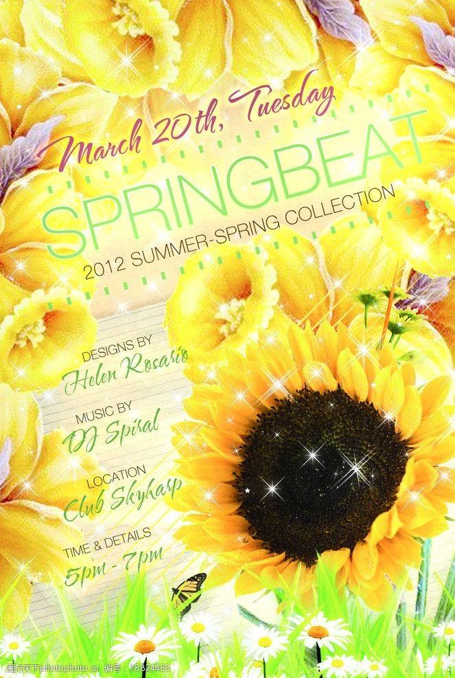 草地蓝天花朵绚丽春天海报向日葵图片