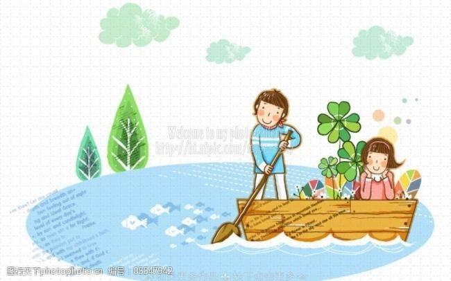 湖水情侣卡通情侣图片