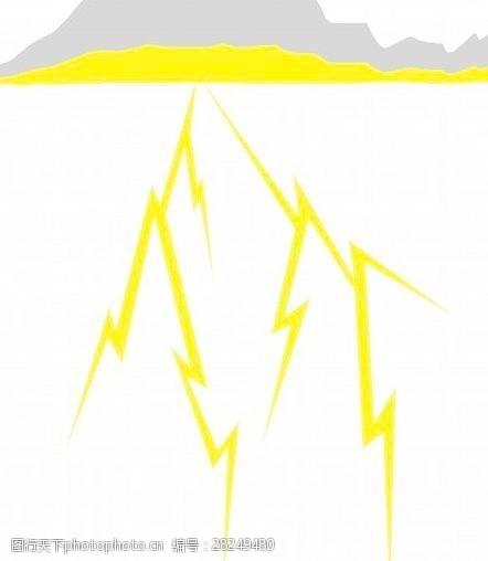 矢量传统图案雷电下雨天气