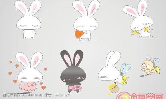 可爱卡通兔矢量图素材