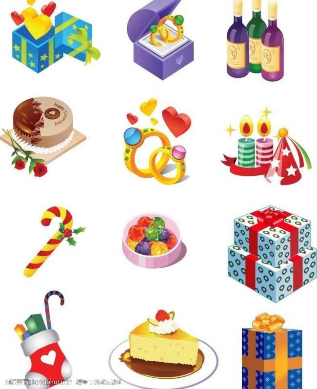 圣诞节饰物生日蛋糕节日礼物矢量图片