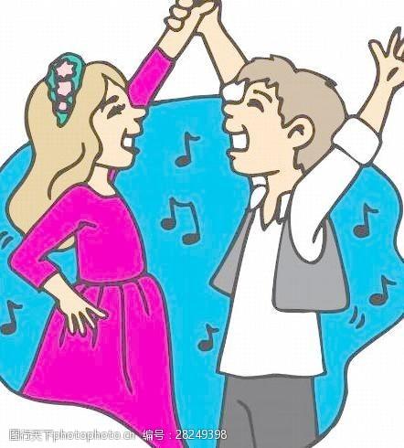 矢量传统图案卡通舞蹈漫画