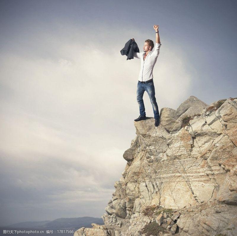 登山的男人成功男士图片