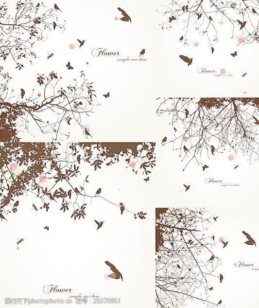 矢量概念鸟类树背景矢量下载