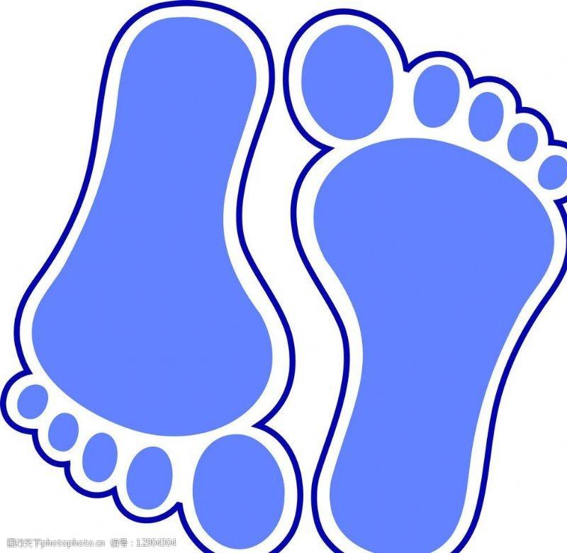 蓝色脚印图片