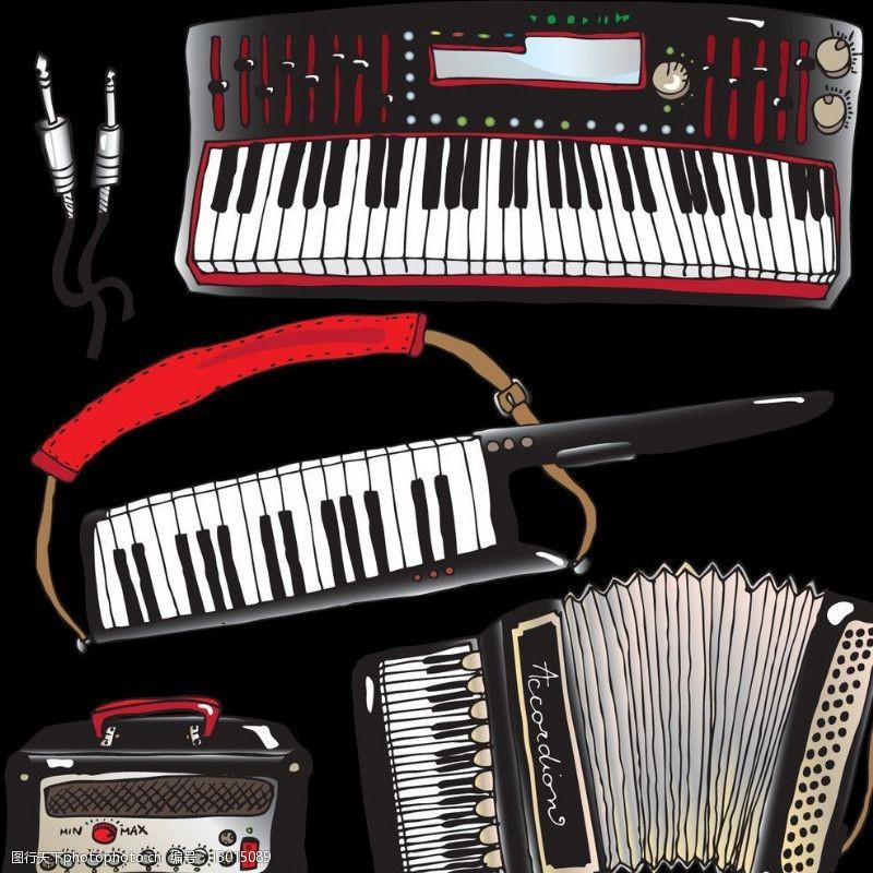 矢量电子琴音乐乐器主题矢量素材图片